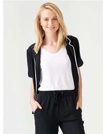 Dilvin 5441 Nakışlı Pijama Bluz-Siyah 101A05441_Siyah