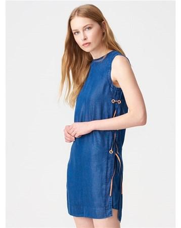 9701 Yanı Kuşgözlü Kot Elbise-Lacivert 101A09701_Lacivert Dilvin