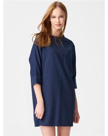 9655 İnce Çizgili Cepli Elbise-Lacivert 101A09655_Lacivert