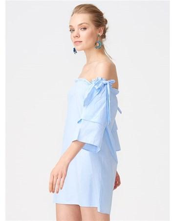 9801 Kolu Bağlamalı Straplez Elbise-Mavi 101A09801_Mavi Dilvin