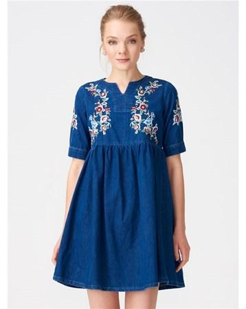 9703 Önü İşlemeli Kot Elbise-Lacivert 101A09703_Lacivert Dilvin