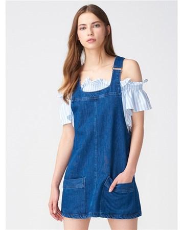 9588 Askılı Kot Elbise-Lacivert 103A09588_Lacivert Dilvin