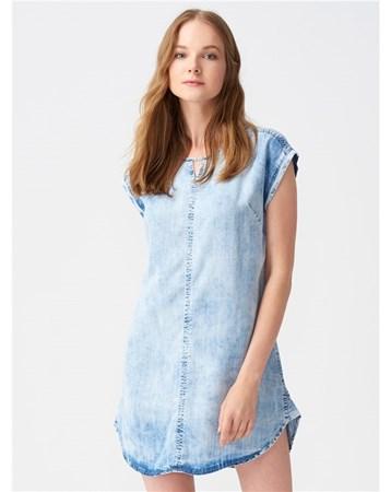 9710 Arkası Bağlamalı Cepli Kot Elbise-Mavi 101A09710_Mavi Dilvin