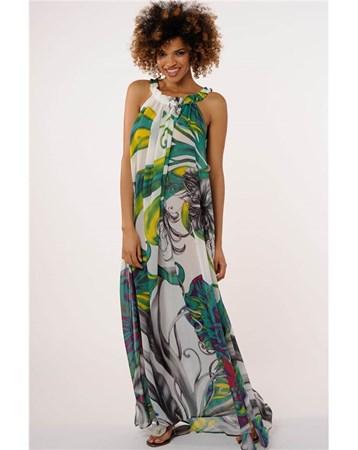 65140 Reflectıons 2016 Yaz Fırfır Yaka Uzun Elbise Reflections