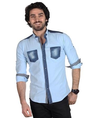 Brango 12357-1 Dar Kesim Spor Buz Mavi Gömlek