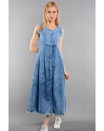 Mavı Bayan Kot Elbise Uzun Kolsuz 9081 Rodinhills