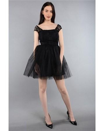 Mezüniyet Abiye Sıyah Bayan Elbise Askılı Dantelli 3577 Rodinhills