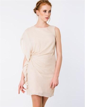 Somon Önü Pileli Şifon Elbise Heva