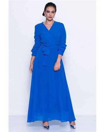 Uzun Mavi Sifon Elbise İroni