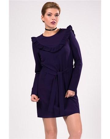 Yaka Firfir Detayli Uzun Kollu Mini Elbise İroni