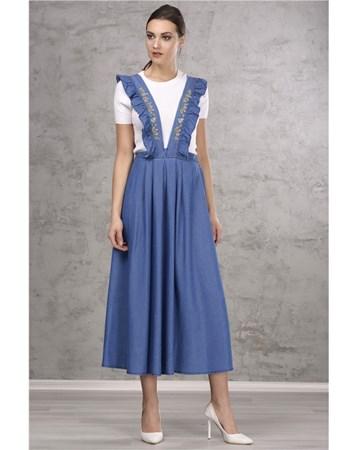 Nakisli Kot Mavi Salopet Elbise İroni