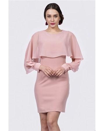 Ustu Sifon Detayli Yarasa Kol Elbise İroni