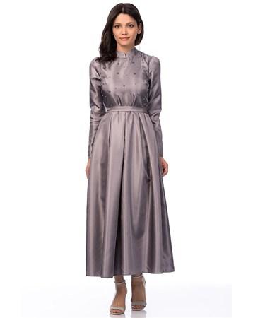 Inci Islemeli Somon Uzun Elbise İroni