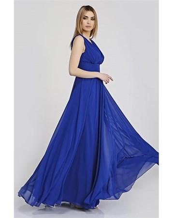Mavi V Yaka Şifon Elbise 322 Pierre Cardin