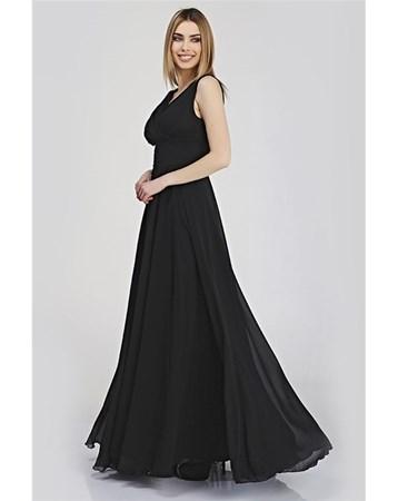 Siyah V Yaka Şifon Elbise 323 Pierre Cardin