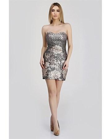 Straplez Payet Baskılı Somon Elbise 382 Carmen Tekstil