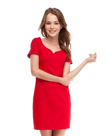 Mizu Kırmızı Kısa Kollu Derin Yaka Elbise