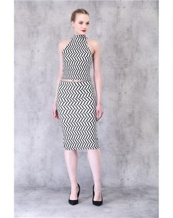 Siyah-Beyaz Çelik Triko Elbise 21192 MY2EGO