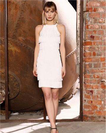 Beyaz Şifon Elbise 27298 MY2EGO