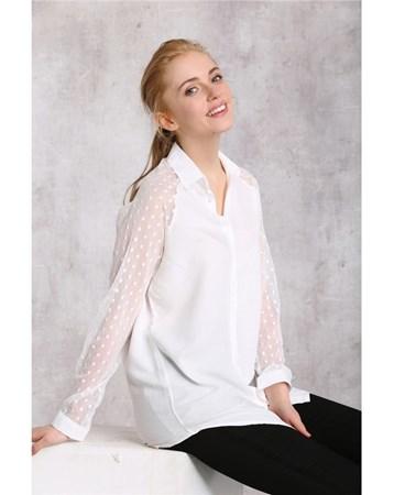 Beyaz Krep Bluz 23156 MY2EGO