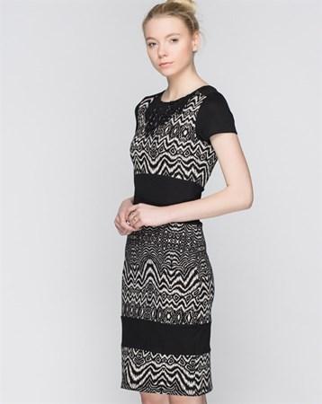 Ekru-Siyah Elbise 78013