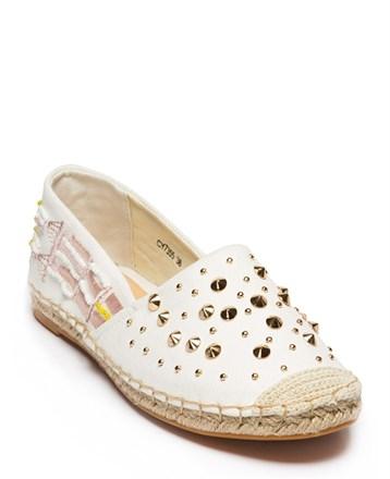 Beyaz Keten Bayan Espadril Ayakkabı