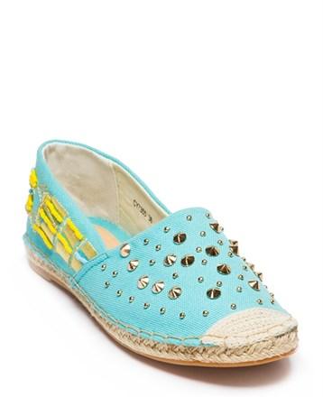 Mavi Keten Bayan Espadril Ayakkabı