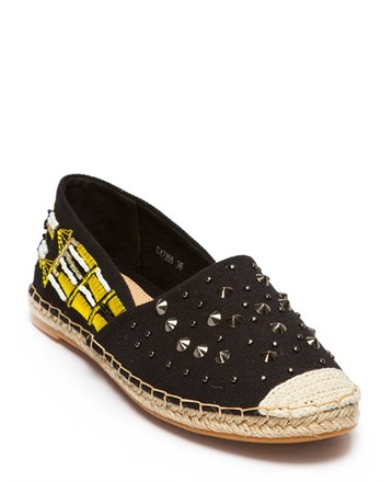 Siyah Keten Bayan Espadril Ayakkabı