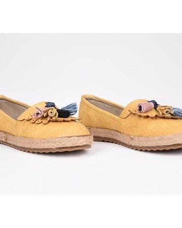 Eldorado Hasır Taban Ortopedik Püsküllü Babet Ayakkabı Sarı 751