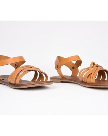 Eldorado Hakiki Deri Sandalet Kapuçino Ortopedik Günlük Esnek Şık 762