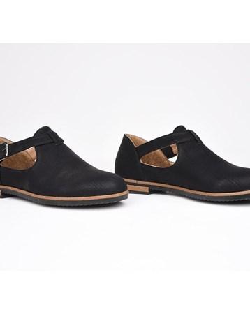 Florin Siyah Tokalı Ortopedik Termo Taban Kadın Günlük Ayakkabı 777
