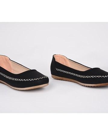 Miss Belinda Polat Siyah Kot Petek Desenli Ortopedik Günlük Kadın Babet Ayakkabı 858