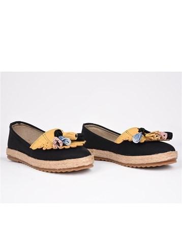 Eldorado Hasır Taban Ortopedik Püsküllü Babet Ayakkabı Siyah 750