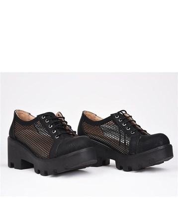 Florin Siyah Fileli Bağcıklı Ortopedik Yüksek Topuk Kadın Ayakkabı 785