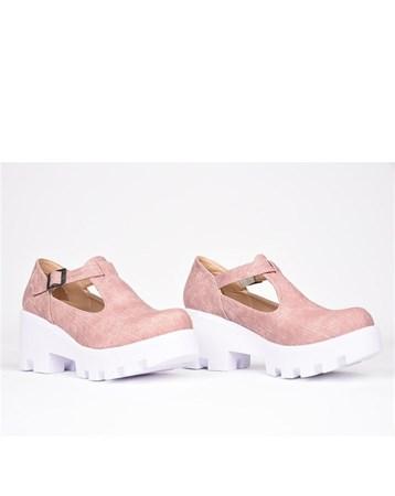 Florin Pembe Tokalı Ortopedik Yüksek Topuk Kadın Ayakkabı 786