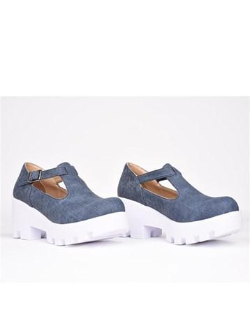Florin Mavi Tokalı Ortopedik Yüksek Topuk Kadın Ayakkabı 787