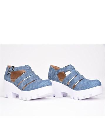 Florin Mavi Tokalı Kemerli Ortopedik Yüksek Topuk Kadın Ayakkabı 789